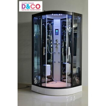 Duschkabine LUTECE Vollausstattung,  Dampfdusche LED, Radio, Touchpanel Bluetooth 100 x 100 x 215 cm Full Options