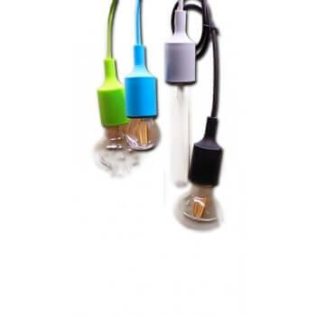 Design in silicone verde luce di soffitto e presa metallica tessuta E27