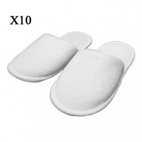 Lot de 10 paires de Chaussons éponges jetables fermés Blancs en coton