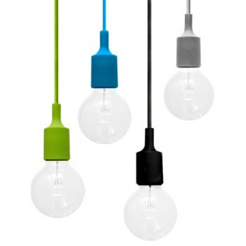 Flushmount design gray silicone and socket E27 + woven cable grey
