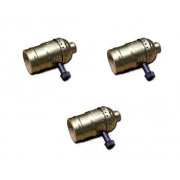 Conjunto de 3 casquillos de bronce del tipo vintage de E27 con interruptor giratorio
