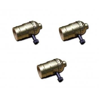 Set of 3 Bronze sockets of type E27 vintage with rotary switch