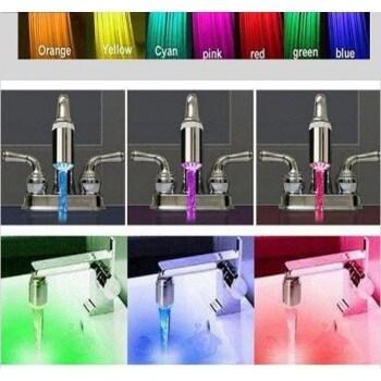 Pack de 3 Embout lumineux à LED pour mitigeur robinet 7 couleurs