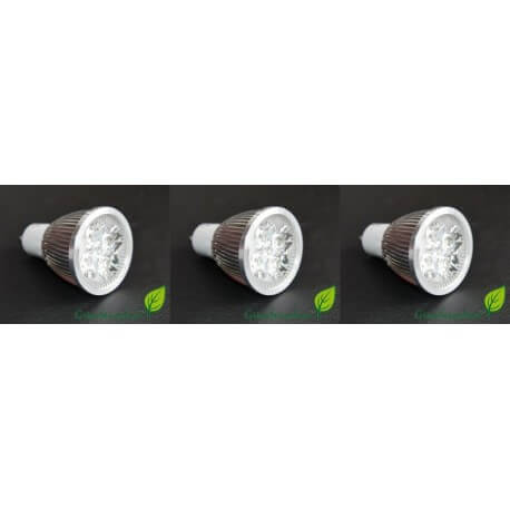 set of 3 bulbs GU10 LED 4w 4X1w high intensity GreenSensation