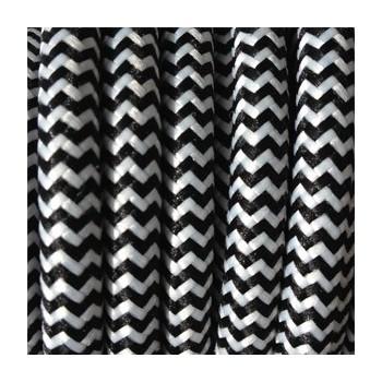 Fil électrique tissé fresque blanc/noir vintage look retro en tissu