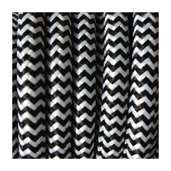 Sguardo di filo elettrico intrecciato affresco bianco/nero in tessuto vintage retrò
