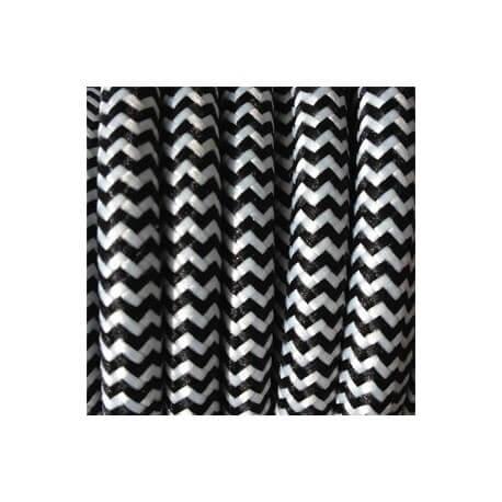 Electric wire woven fresco white/black vintage retro fabric look