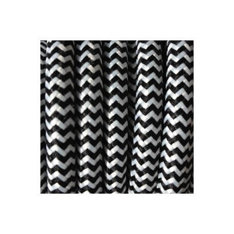 Electric wire woven fresco white/black vintage retro fabric look