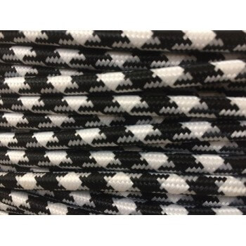 Electric wire woven fresco triangular white/black vintage retro fabric look