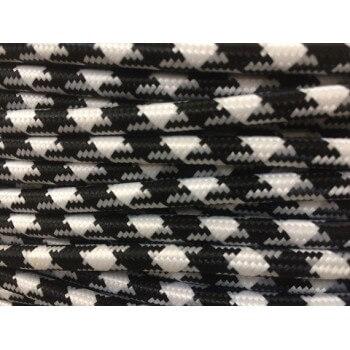 Fil électrique tissé fresque triangulaire blanc/noir vintage look retro en tissu