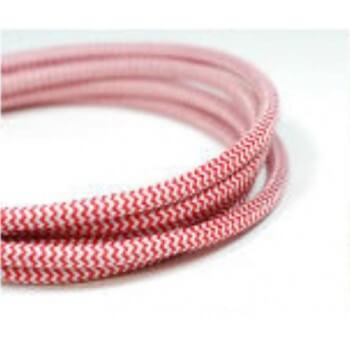 Cable eléctrico tejido fresco rojo y blanco vintage retro
