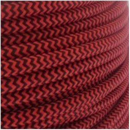 Electric wire woven fresco red/black vintage retro fabric look