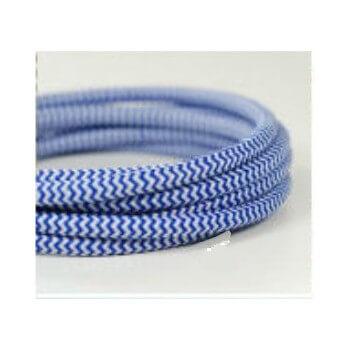 Sguardo di filo elettrico intrecciato affresco blu/bianco tessuto retrò vintage