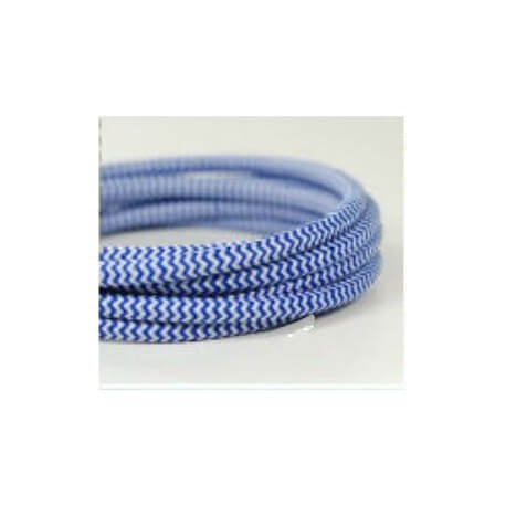 Electric wire woven fresco blue/white vintage retro fabric look