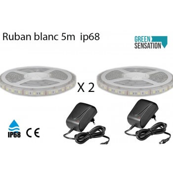 Lot de 2 Ruban à LED Blanc Chaud 5 mètres + Transformateur 12v  IP68 SMD5050