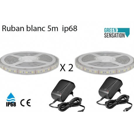 Set of 2 ribbons to white hot 5 meter LED + transformer 12v SMD5050 IP68