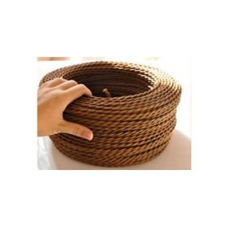 Cable eléctrico trenzado mirada marrón tela retro vintage