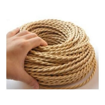Braided electrical wire beige vintage retro fabric look