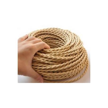 Trenzado de look beige tela retro vintage de cable eléctrico