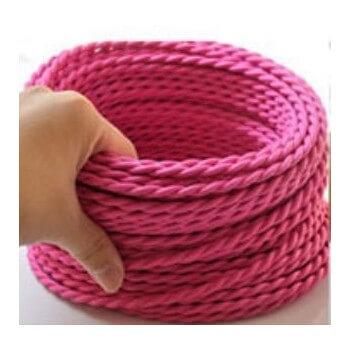 Fil électrique tressé rose vintage look rétro en tissu au mètre