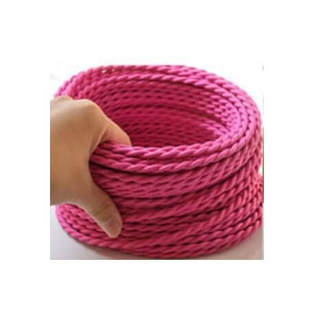 Braided wire pink vintage retro fabric by the metre