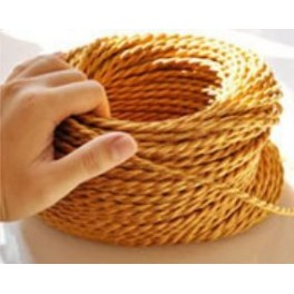 Wire braided gold vintage retro fabric look