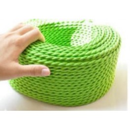 Apple green braided wire vintage retro fabric look