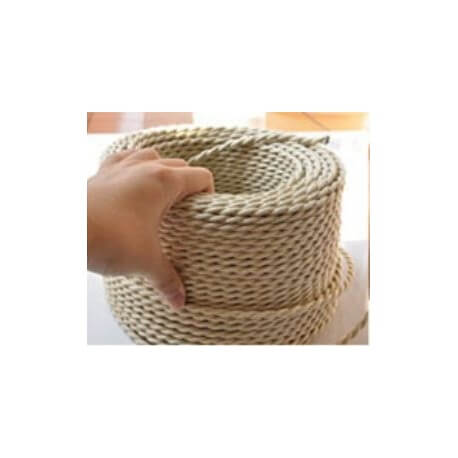 Broken white braided electrical wire vintage retro fabric look