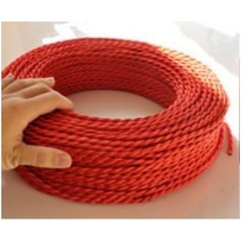 Fil électrique tressé rouge vintage look retro en tissu