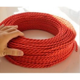 Braided electrical wire red vintage retro fabric look
