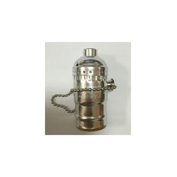 Socket type E27 chrome vintage with chain switch