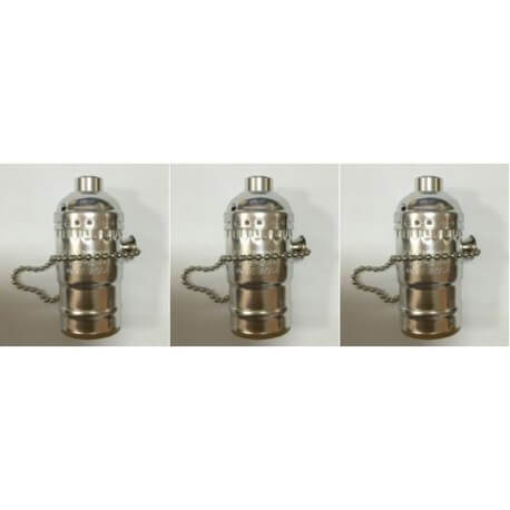 set of 3 socket of type E27 chrome vintage with chain switch