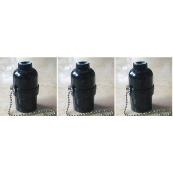 set of 3 lampholder E27 type bakelite vintage with chain switch