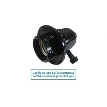 Lampholder E27 tipo vintage de baquelita con interruptor rotatorio y lavadora para ciegos