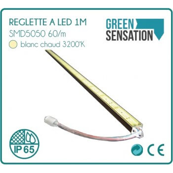 Strip LED in aluminium 1 m white hot IP65 + offered transformer!