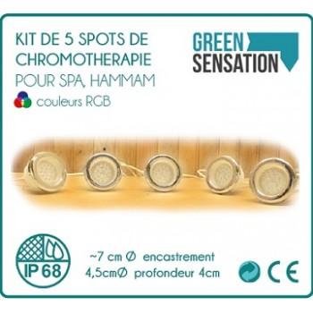 Kit de 5 spots chromothérapie pour Spa et balnéo