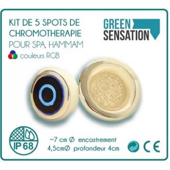Kit de 5 spots chromothérapie pour hammam, sauna, Spa et balnéo