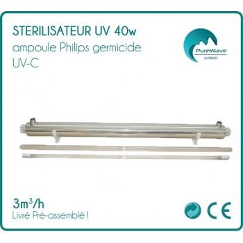 40W UV Sterilisator (3 m3/St.) mit Philips Glühlampe + Vorschaltgerät einbaufertig