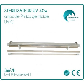 Stérilisateur UV 40w ampoule Philips 3 m3 / heure