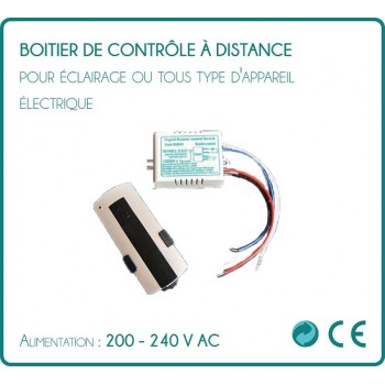 Box remote control for lighting or any type of electrical apparatus.