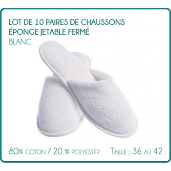 Lot of 10 pairs of slippers closed disposable sponge white Hammam, Spa, hotel, spa, swimming pool...