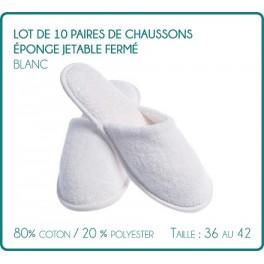 Lot de 10 paires de Chaussons éponge jetable fermé Blanc pour Hammam, thalassothérapie, hôtel, spa , piscine ....