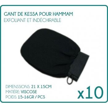 Lotto di 10 guanti Kessa per Scrub esfoliante nero di Hammam
