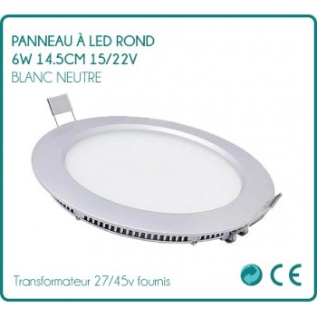 LED panel round 9w white neutral 14.5 cm 27/45v