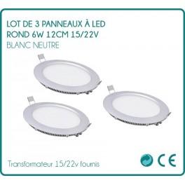 LED panel round 6w white neutral 12 cm 15/22v