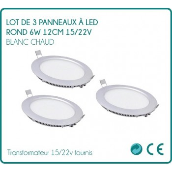 Set of 3 round LED 6W white hot 12cm 15 signs / 22v