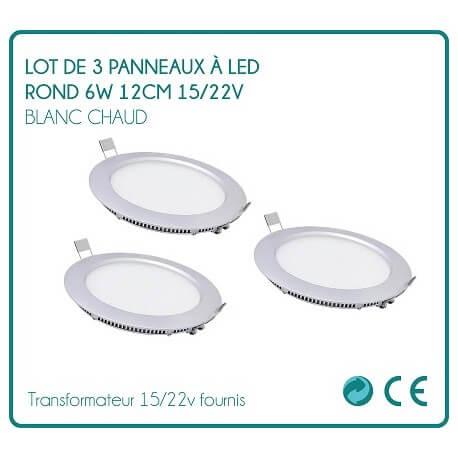Set of 3 round LED 6W white hot 12cm 15 signs / 22v