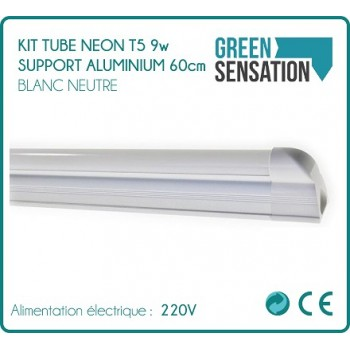 Kit Tube Neon T5 LED 60cm 9w aluminium support