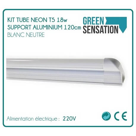 Kit Tube 120 cm Neon T5 on aluminium economical lighting support