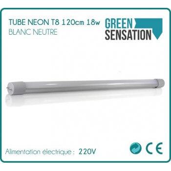 Tube Néon T8 120cm 18w 1700 Lumens Blanc neutre économie par LED